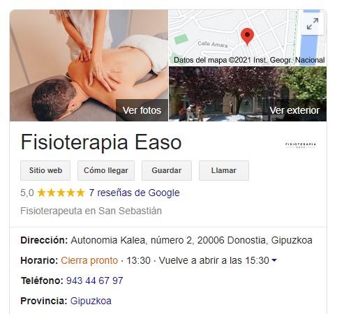Google Fisioterapia Easo Donostia San Sebastián